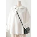 Creative Womens Shirt Plain Cotton Tie-Neck Button Detail Loose Fit Long Sleeve Shirt