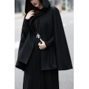 Cool Womens Cape Coat Solid Color Large Hood Loose Fitted Sleeveless Cape Coat