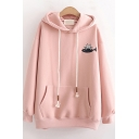 Basic Womens Tunic Hoodie Cat Fish Embroidered Kangaroo Pocket Drawstring Long Sleeve Relaxed Fitted Hoodie