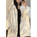 Vintage Womens Hoodie Allover Bear Pattern Zipper Fly Long Sleeve Relaxed Fitted Tunic Hoodie
