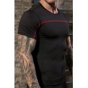 Mens Sport Tee Top Unique Reflective Crew Neck Topstitching Short Sleeve Skinny Fitted Quick-Dry T-Shirt