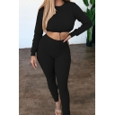 Novelty Womens Co-ords Plain Rib Knitted Long Sleeve Round Neck Cropped Tee Slim Fitted Pants Co-ords