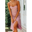Pastoral Girls Cami Dress Daisies Sleeveless Spaghetti Strap Arched Neck Fitted Midi Dress with Slit