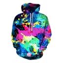 Cool Mens 3D Hooded Sweatshirt Paint Splatter Pattern Long Sleeve Pocket Drawstring Fitted Hooded Sweatshirt in Purple