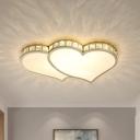 Loving Heart Acrylic Flush Mount Lighting Modernity LED Gold Close to Ceiling Light in Warm/White Light for Bedroom