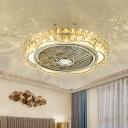 Metal Floral LED Fan Light Fixture Modernity Chrome Finish Faceted Crystal Semi-Flush Mount, 19.5