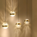 1-Bulb Bedroom Ceiling Hang Fixture Modern Gold Pendant Lamp with Spherical Clear Crystal Shade