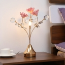 Ceramic Flower Table Light Contemporary 3 Lights Blue Nightstand Lamp with Metal Branch Design