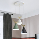 White Round/Linear Canopy Multi-Pendant Nordic 3 Lights Metal Suspension Lighting with Cone Shade and Antler Top