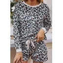 Womens Sweater and Shorts Sets Chic Leopard Printed Bow-Knot Tie Long Sleeve Round Neck Co-ords