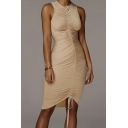Retro Womens Dress Solid Color Ruched Drawstring Front Crew Neck Sleeveless Slim Fitted Short Bodycon Tank Dress