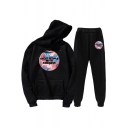 Womens Co-ords Unique Abstract Painting Letter Treat People with Kindness Pattern Long Sleeve Hoodie Ankle Length Pants Loose Fit Jogger Co-ords