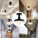 Iron Black Close to Ceiling Lamp Barn Single-Bulb Vintage Semi Flush Light Fixture