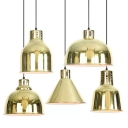 Polished Gold 1-Light Down Lighting Warehouse Iron Oval/Bell/Dome Shade Hanging Pendant Light