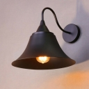 1-Light Reading Wall Lamp Vintage Living Room Wall Mounted Light with Flared Metal Shade in Black