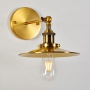 Antiqued Gold 1 Bulb Wall Lamp Warehouse Metal Saucer Wall Mounted Light Fixture with Rotatable Joint