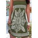 Beach Style Dress Tribal Paisley Pattern Strapless Fitted Short Swing Dress for Women
