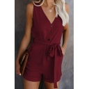 Dressy Rompers Belted Solid Color Rolled Hem Buttons V Neck Regular Fitted Shorts for Women