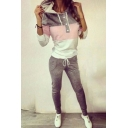 Sporty Women's Hoodie Color Block Buttons Drawstring Long Sleeve Regular Fit Hooded Sweatshirt with Pants Co-ords