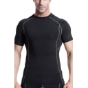 Mens Workout T-Shirt Stylish Flatlock Stitching Quick Dry Crew Neck Short Sleeve Skinny Fitted Compression T-Shirt