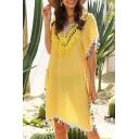 Pretty Womens Shirt Dress Hand-Crochet Colorful Fringe Plain Sheer Backless V Neck Short Sleeve Dress with Slit