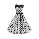Retro Womens Dress Polka Dot Flower Geometric Pattern Tie-Waist Keyhole Front Lace Patchwork Crew Neck Sleeveless Slim Fitted Midi A-Line Swing Dress