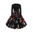 Womens Dress Stylish Snowflake Candy Cane Father Christmas Star Gift Print Tie-Waist Midi Slim Fitted Round Neck Long Sleeve A-Line Swing Dress