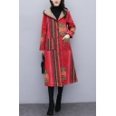 Tribal Style Women's Hooded Coat Brushed All over Stripe Printed Button Down Contrast Color Front Pockets Long Sleeved Coat