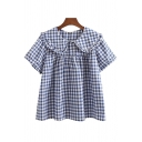 Creative Womens Shirt Solid Color Stringy Selvedge Short Sleeve Peter Pan Collar Loose Fit Shirt
