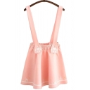 Womens Dress Casual Cat Paw Embroidered High Elastic Rise Mini A-Line Suspender Dress