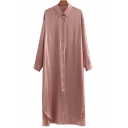 Basic Womens Dress Metallic Split Hem Button down Midi Regular Fit Long Sleeve Turn-down Collar Shirt Dress