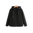 Womens Jacket Stylish Plain Diamond-Quilted Zipper Pocket Button down Loose Fit Long Sleeve Hooded Padded Jacket