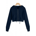 Womens Cropped Hooded Sweatshirt Chic Solid Color Zipper Front Drawstring Long Sleeve Regular Fit Hooded Sweatshirt