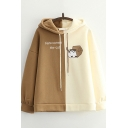 Vintage Womens Hoodie Two Tone Cat Letter Pattern Drop Shoulder Drawstring Long Sleeve Relaxed Fitted Hoodie
