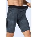 Novelty Mens Shorts 3D Geometric Print Quick-Dry Stretch Elastic Waist Skinny Fitted Sport Shorts