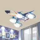 Wood Plane Flush Mounted Ceiling Light Cartoon 4 Heads Blue and White Flushmount for Nursery