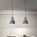 Cone/Dome/Oval Metallic Down Lighting Nordic 1-Light Grey/White Hanging Pendant Light for Bedside