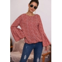 Romantic Girls Shirt Ditsy Floral Flare Cuff Sleeve Loose Fitted Round Neck Blouse