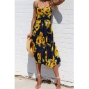 Girls Pretty Summer Slip Dress Floral Printed Button-down Curved Neck Spaghetti Strap Midi Dress with Pockets