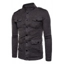 Mens Popular Solid Color Epaulets Long Sleeve Button Down Sweater Cardigan with Flap Pocket