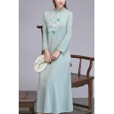 Womens Fashion Round Neck Long Sleeve Embroidery Floral Print Bow-Tied Tassel Light Green Swing Maxi Dress
