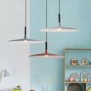Nordic Creative Flat Shade Pendant Aluminum 1 Head Dining Room Ceiling Suspension Lamp in Grey/White/Orange
