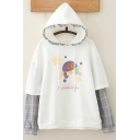 Vintage Womens Hoodie Cartoon Bear Letter Dream Universe Pattern Plaid-Patchwork False Two Pieces Drawstring Long Sleeve Relaxed Fitted Hoodie