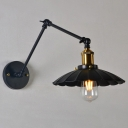 Bulb Scalloped Shade Wall Lighting Industrial Black Iron Swing Arm Wall Lamp Fixture, 8