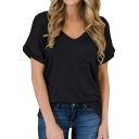 Leisure Tee Top Solid Color Chest Pocket Rolled Hem V Neck Short-sleeved T-Shirt for Women