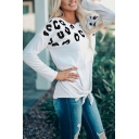 Casual Women's T-Shirt Leopard Animal Pattern Patchwork Knotted Tie Front Crew Neck Long-sleeved Tee Top