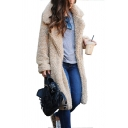 Winter Warm Women's Overcoat Solid Color Open Front Notch Collar Faux Fur Overcoat