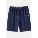 Stylish Drawstring Waist Zip Pocket Patched Detail Mens Cotton Relaxed Sport Sweat Shorts