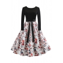 Vintage Womens Dress Floral Fruit Stripe Dot Print Bow Tie Waist Crew Neck Long Sleeve A-Line Slim Fitted Midi Swing Dress