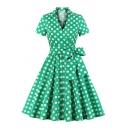 Womens Dress Casual Polka Dot Pattern Bow Tie Waist Midi A-Line Slim Fitted Surplice Neck Short Sleeve Swing Dress